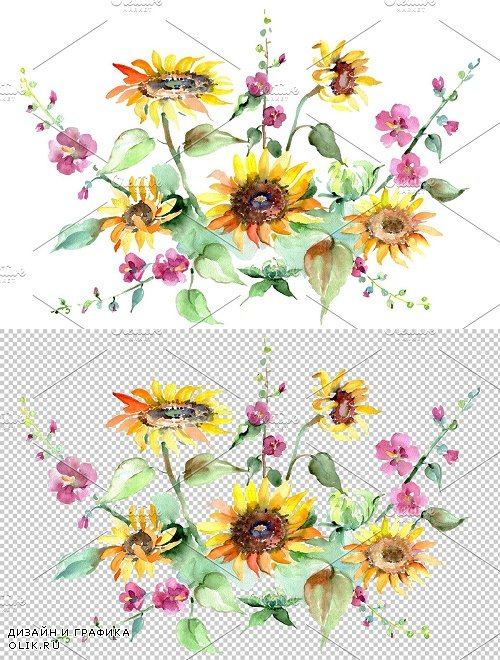 Bouquet of sunflowers Watercolor png - 3819830