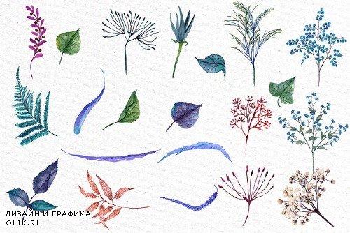 Watercolor Blue Flowers Clipart - 1162951