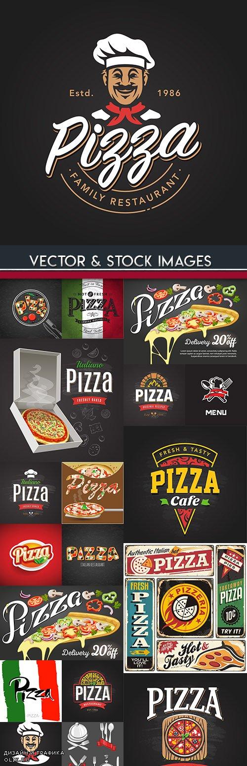 Pizzeria menu Italian restaurant banner illustration