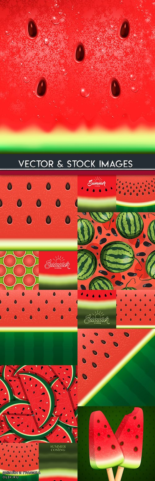 Watermelon with stones realistic summer background