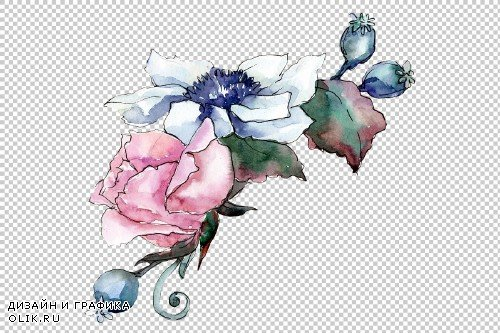 Elegant pink bouquet PNG watercolor - 3099859