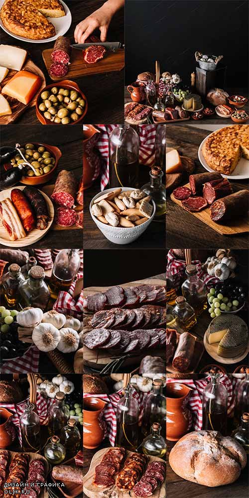 Копчённости и хлеб - Растровый клипарт / Smoked Meat and Bread - Raster clipart