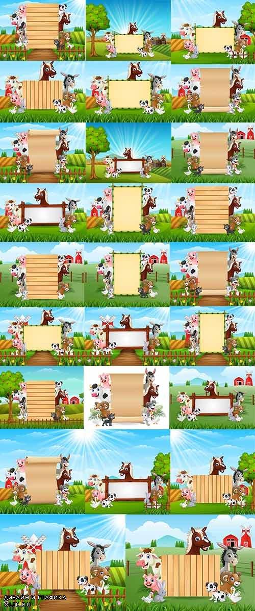 Звери на ферме с рамками - Векторный клипарт / Farm animals with frames - Vector Graphics