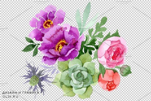 Peonies paradise purple watercolor - 3828592