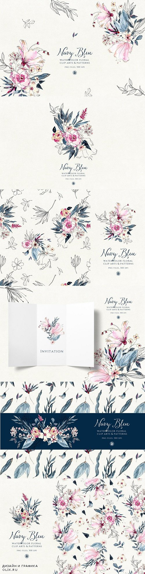 Navy Blue Watercolor Flowers - 3816789