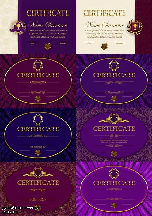 Элегантные сертификаты - Векторный клипарт / Elegant certificates - Vector Graphics