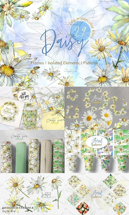 Watercolor Daisy PNG set - 3828728