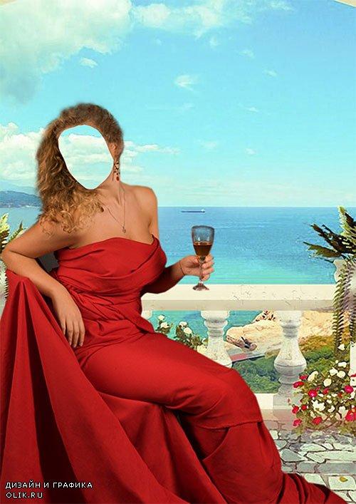 Женский фотошаблон - В красном платье с бокалом вина на фоне моря