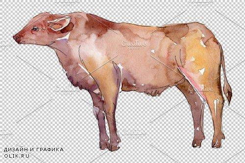 Farm animals:bull Watercolor png - 3835952