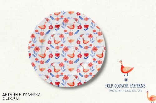 Folk Gouache Patterns - 3817669