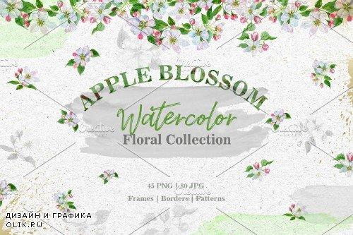 Apple blossom PNG watercolor set - 3100468