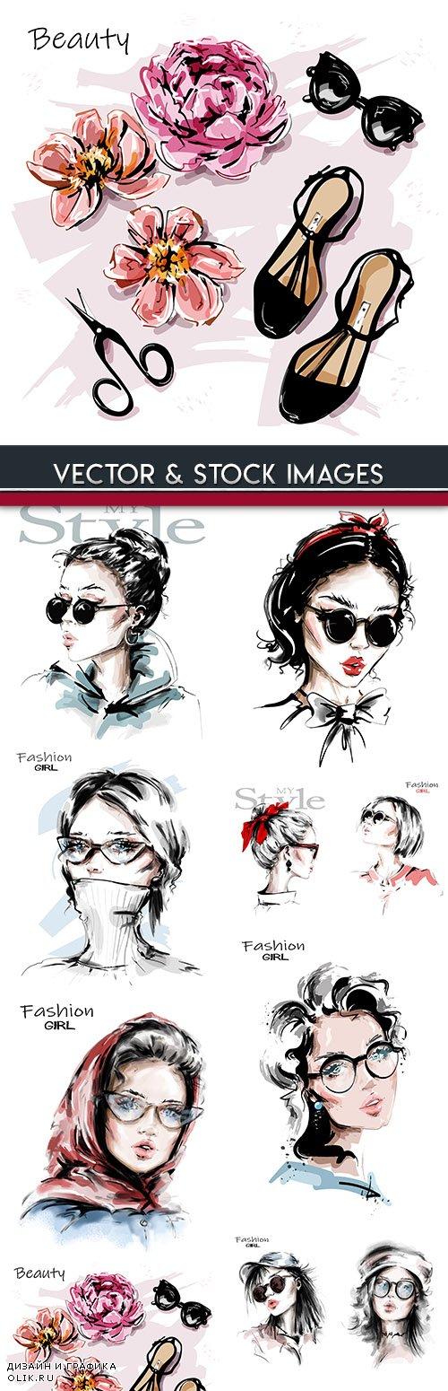 Fashion girl elegant style vector sketch of illustrations