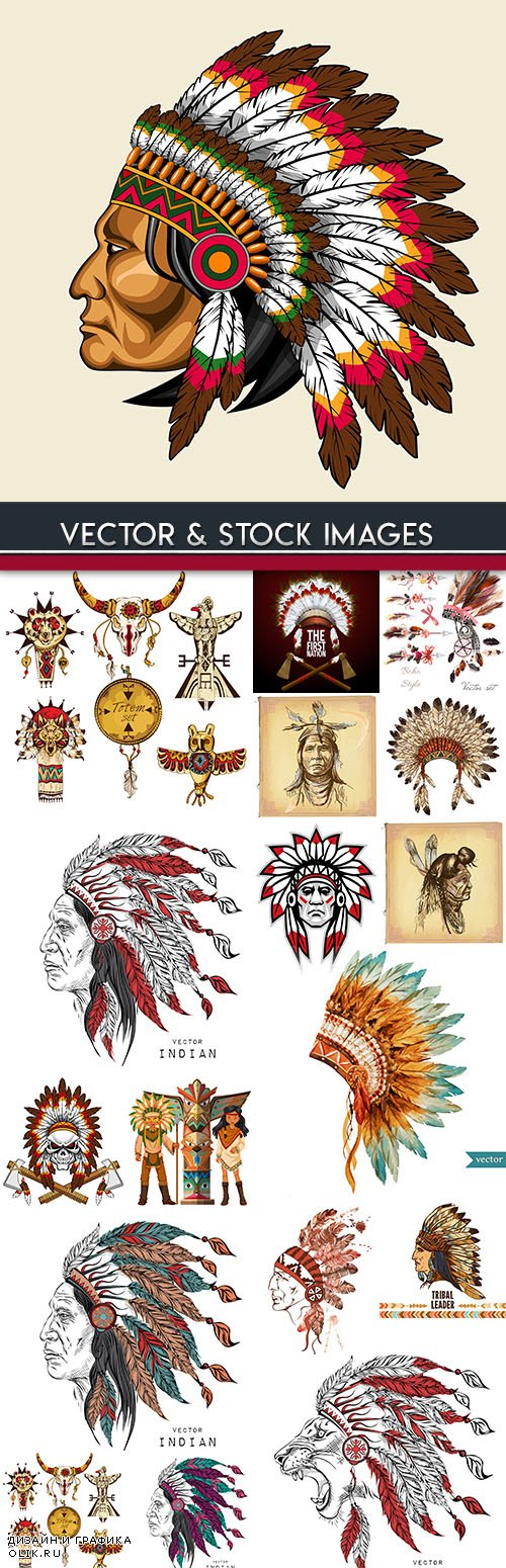 Leader of Indians traditional headdress of their feathers