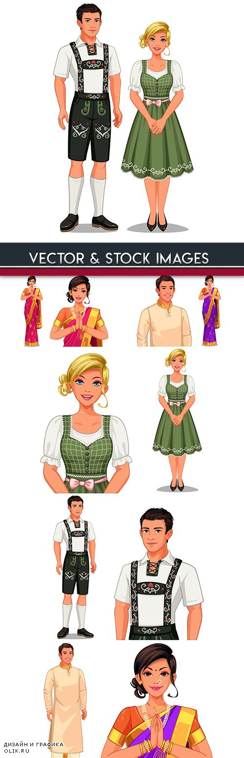 National couples in traditional suits set of illustrations