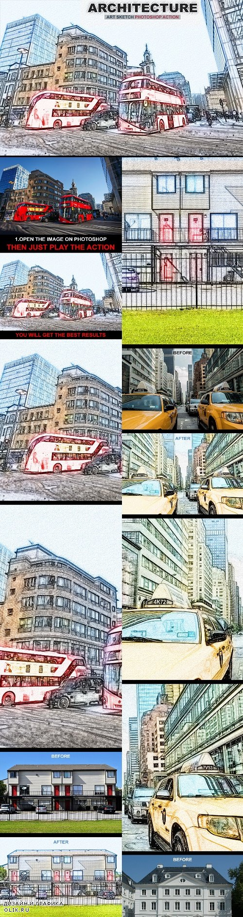 Architecture Art Sketch Photoshop Action - 22822619 - 3177347