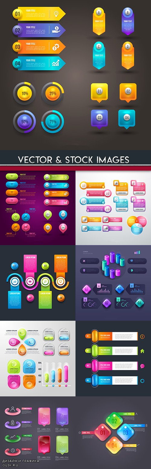 Business infographics options elements collection 68