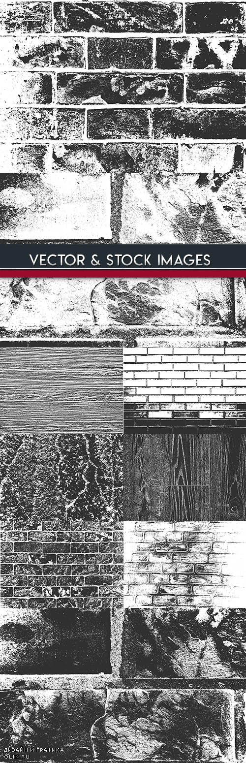Grunge texture brick and stone wall illustration vector 2