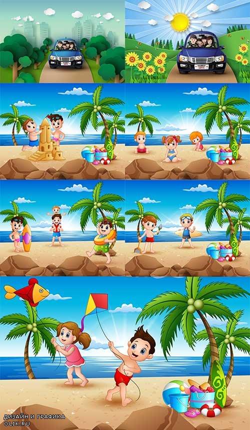 Отдых летом - Векторный клипарт / Summer vacations - Vector Graphics