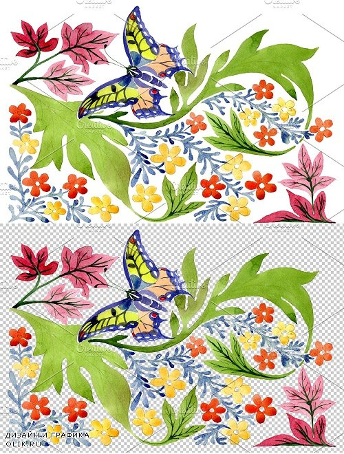 European floral ornament watercolor - 3850130