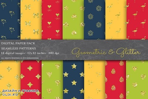 Glitter Geometric Digital Papers - 3808935