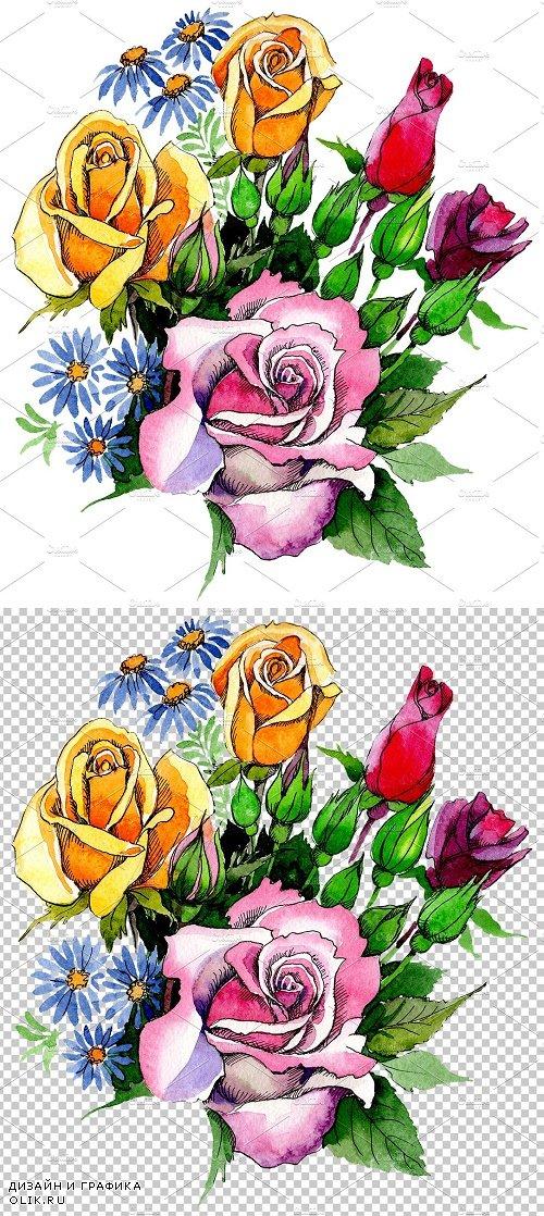 """Bouquet """"Love Waterfall"""" watercolor - 3842856"""
