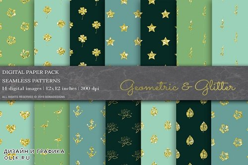 Gold Glitter Geometric Digital Paper - 3808931