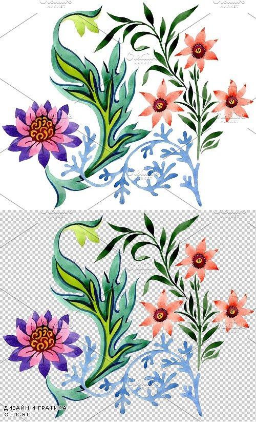 Beautiful flower ornament watercolor - 3849984