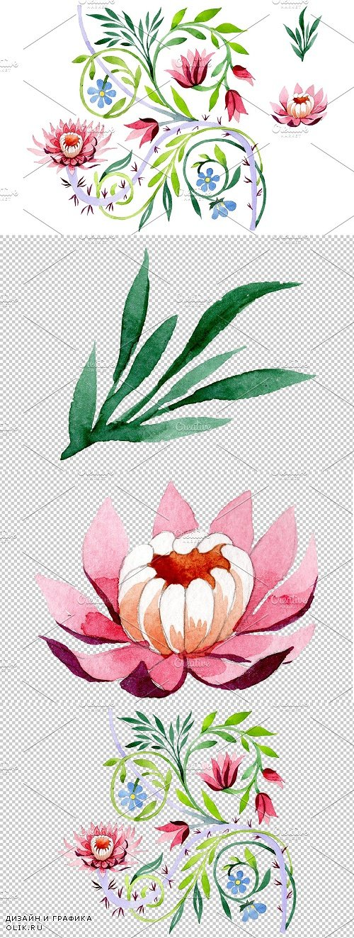 Ornament with lotus Watercolor png - 3850634