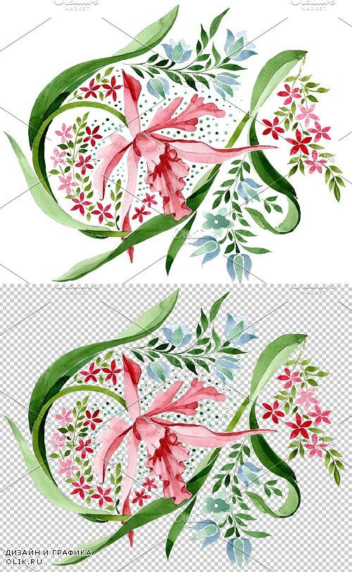 Pink floral ornament watercolor png - 3850199