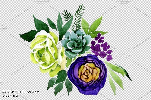 "Bouquet ""Karelia"" watercolor png - 3842853"
