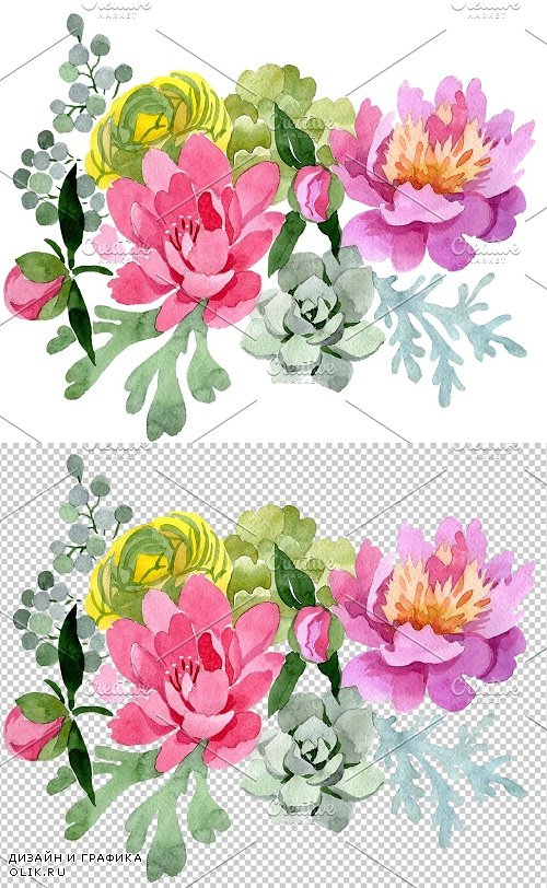 """Bouquet with pink peonies """"Mirage"""" - 3843692"""