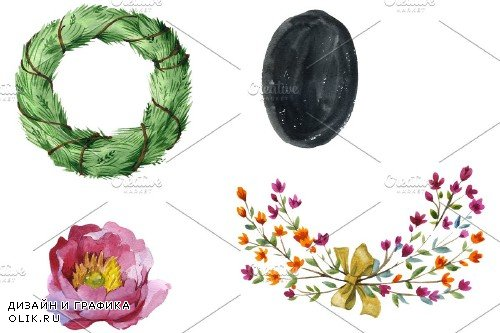 Watercolor flower abstract png - 3843992
