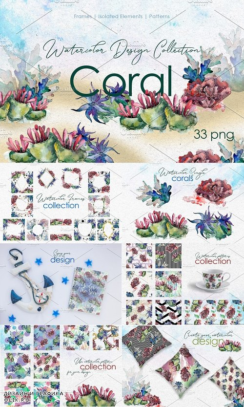 Seafood corals watercolor png - 3848613