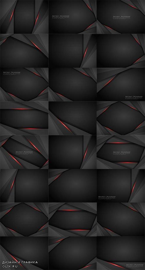 Чёрные фоны с красными линиями в векторе / Black backgrounds with red lines in vector