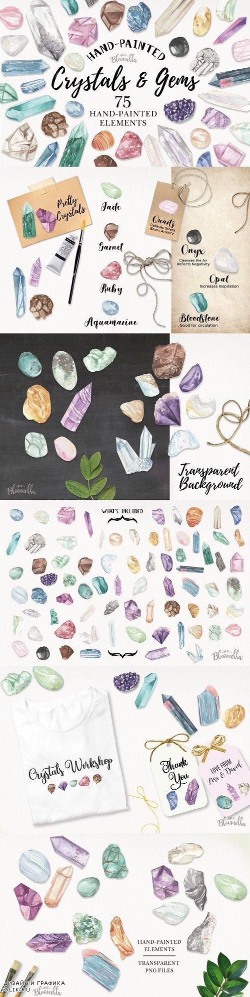 Crystals & Gems Watercolor 75 Set - 3851437