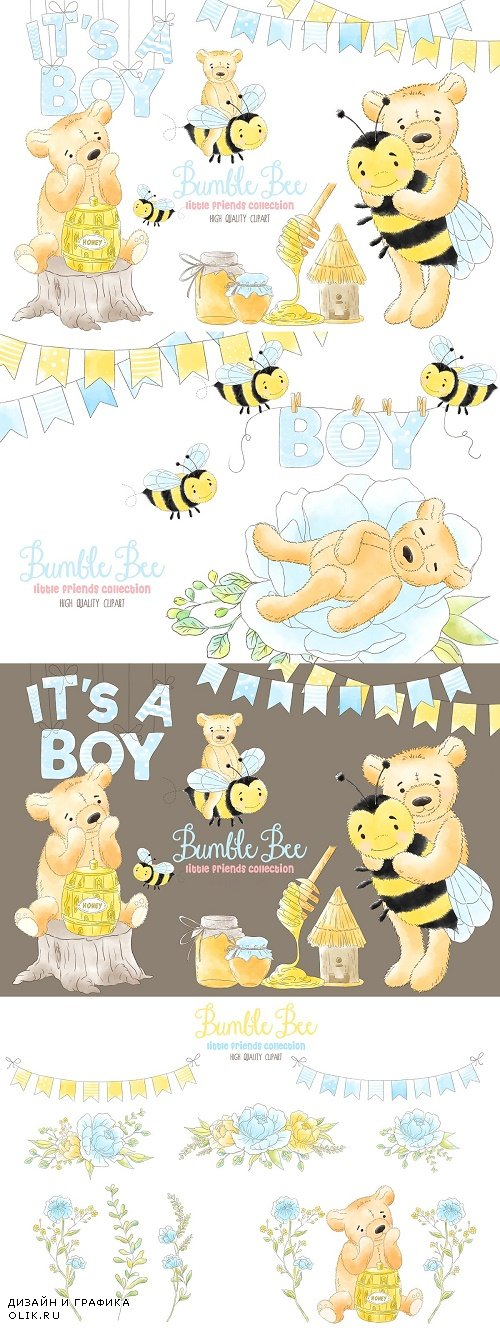 Bee Boy and Honey Watercolor clipart - 3803218