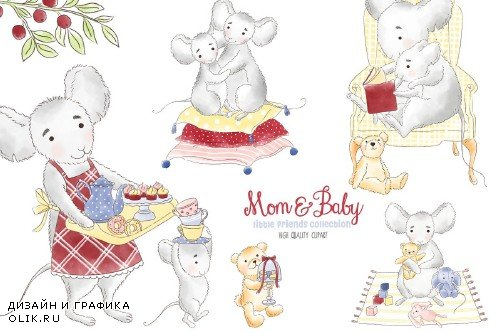 Mouse Mother and me clipart - 3831392