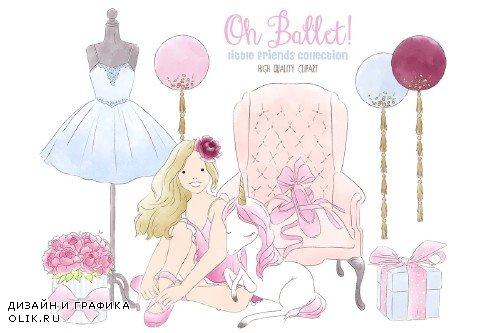 Ballerina, ballet watercolor clipart - 3816714