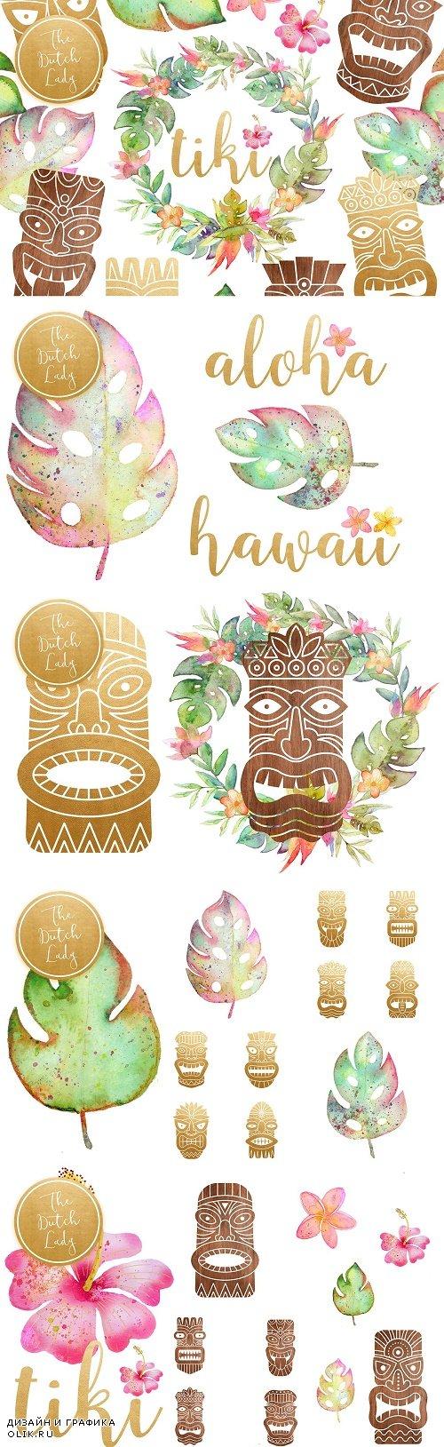 Hawaiian Tiki Mask Clipart Set - 3853129