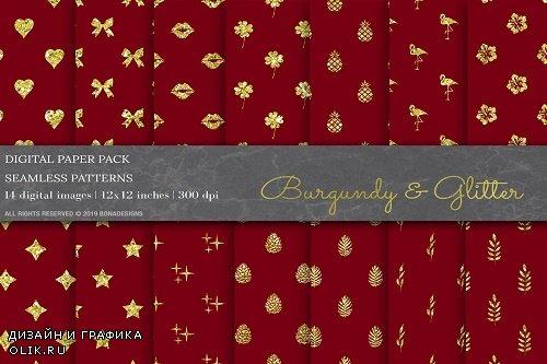 Burgundy Glitter Digital Papers - 3808237