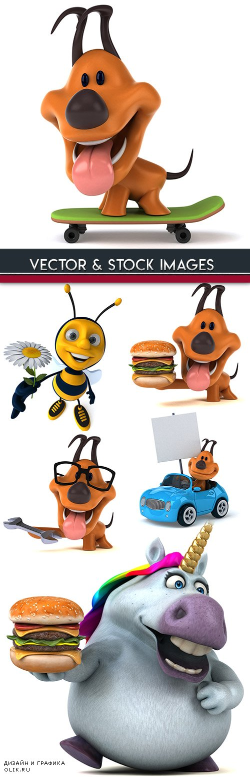 3d illustrations bright animals and business elements 2