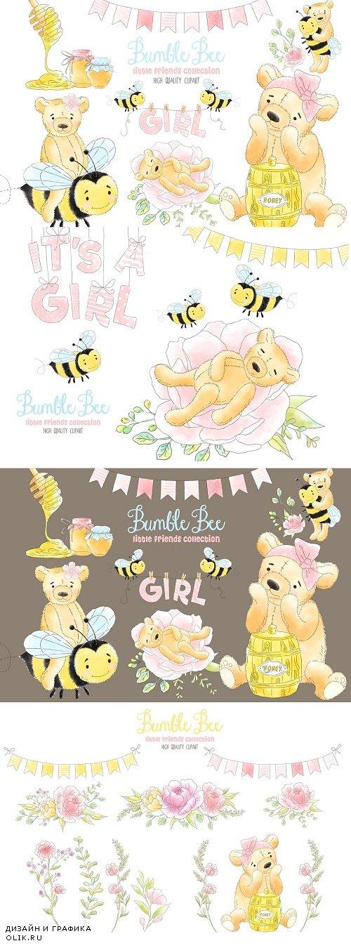 Bee Honey Watercolor clipart - 3799795