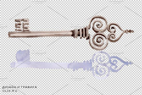 Old Golden Key Watercolor png - 3851288