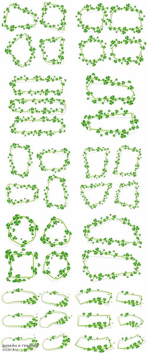 Рамки-баннеры из листвы - Векторный клипарт / Frames-banners from leaves - Vector Graphics