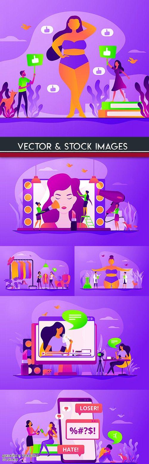 Female beauty cosmetic procedures design flat style