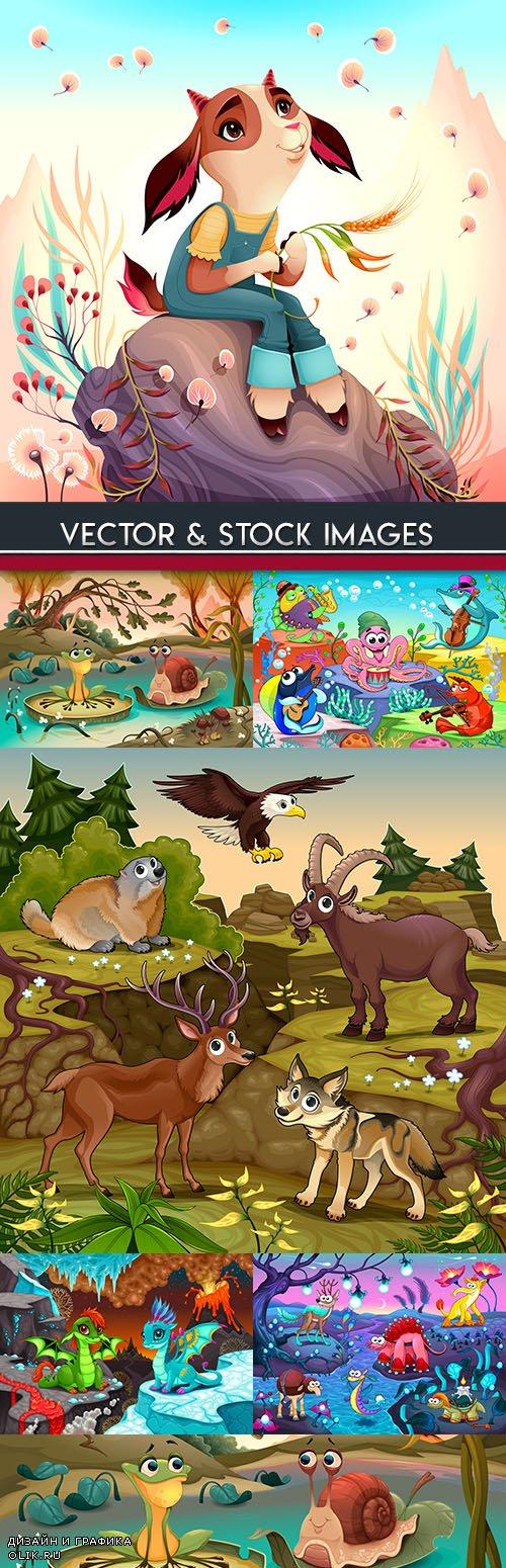 Funny cartoon animals and fantastic landscape illustrations
