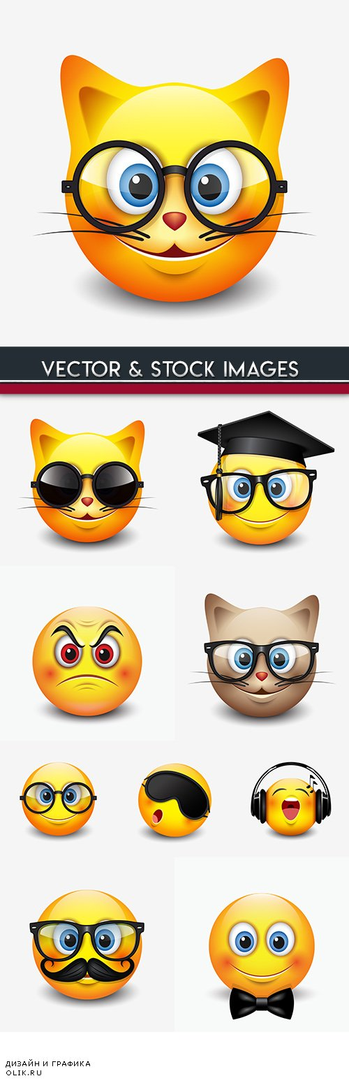 Amusing cartoon smile emotion and objects decor