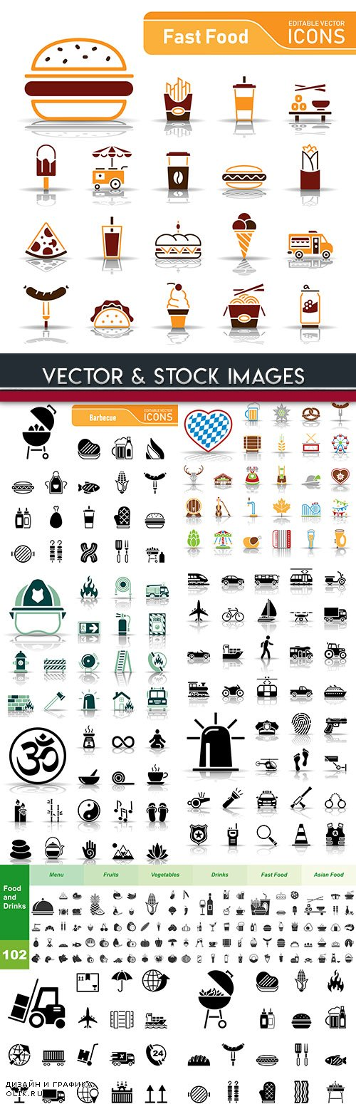 Collection icons fast food and barbecue black 5
