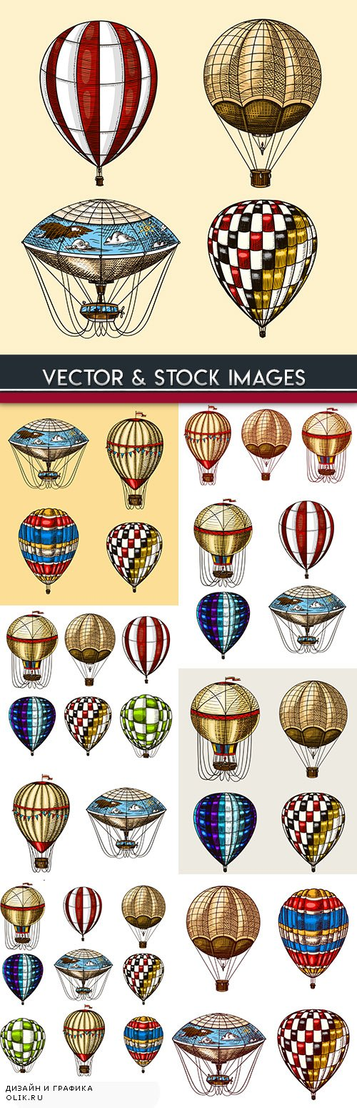 Montgolfier of different flowers and decorative pattern