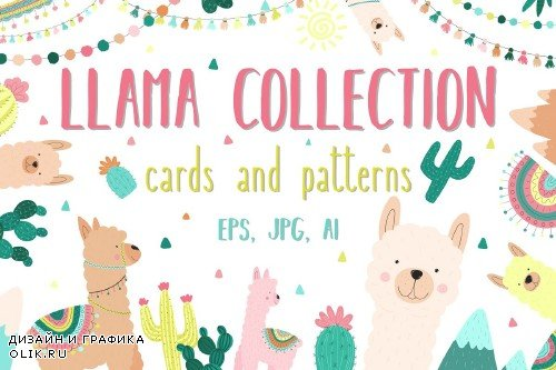 Hand-drawn llama collection - 3409204